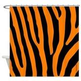 Orange and Black Zebra Stripes Shower Curtain