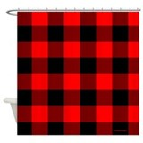 Red and Black Checkered Shower Curtain