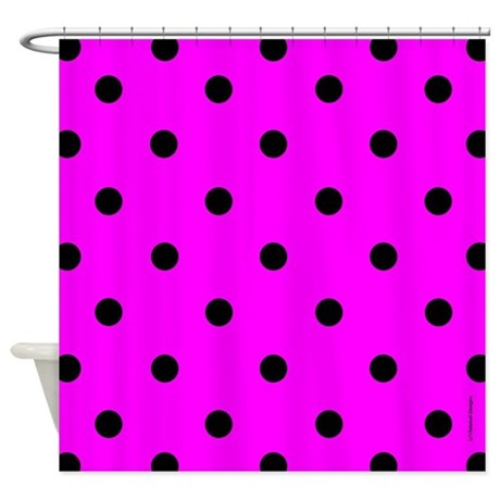 Pink And Black Polka Dot Shower Curtain By Rainbowhot
