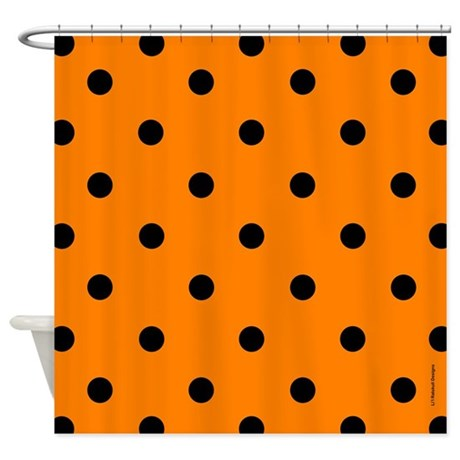 Orange and Black Polka Dot Shower Curtain