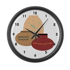 Clay Pots Large Wall Clock