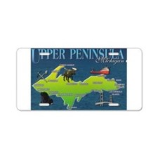 Funny Upper peninsula of michigan Aluminum License Plate