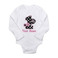 1st Birthday Pink and Black D Baby Outfits