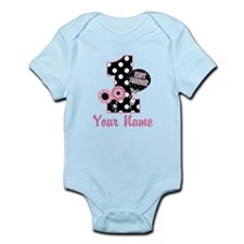 1st Birthday Pink and Black D Onesie