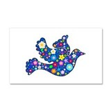 Navy Blue Dove of Flowers Car Magnet 20 x 12