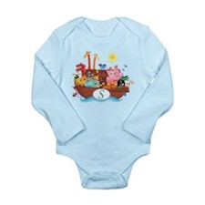 Letter S Initial Noah's Ark Long Sleeve Infant Bod