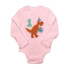 1st Birthday Dinosaur Long Sleeve Infant Bodysuit