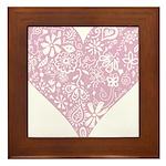 Pink Decorative Heart Framed Tile