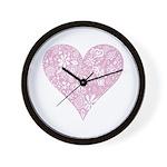 Pink Decorative Heart Wall Clock
