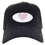 Pink Decorative Heart Black Cap