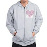 Pink Decorative Heart Zip Hoodie