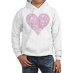 Pink Decorative Heart Hooded Sweatshirt