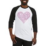 Pink Decorative Heart Baseball Jersey