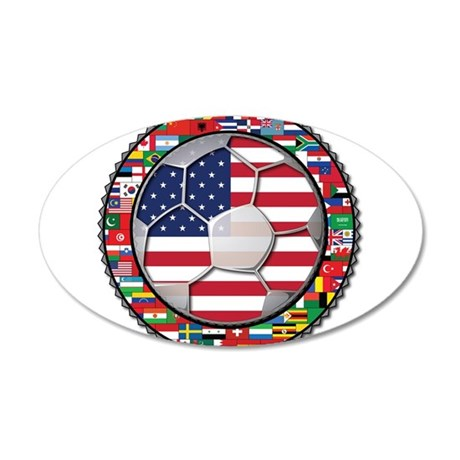 United States Flag World Cup 38.5 x 24.5 Oval Wall