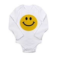 Yellow Smiley Face Long Sleeve Infant Bodysuit