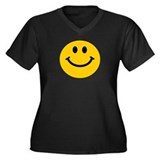Yellow Smiley Face Women's Plus Size V-Neck Dark T