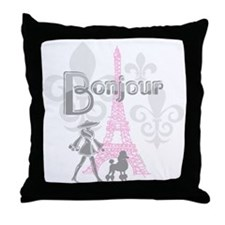 Bonjour Paris 2 Throw Pillow