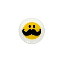 Mustached Smiley Mini Button (10 pack)