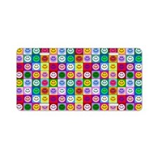 Multicolor Smiley Pattern Aluminum License Plate