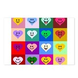 Colorful Smiley Hearts Postcards (Package of 8)