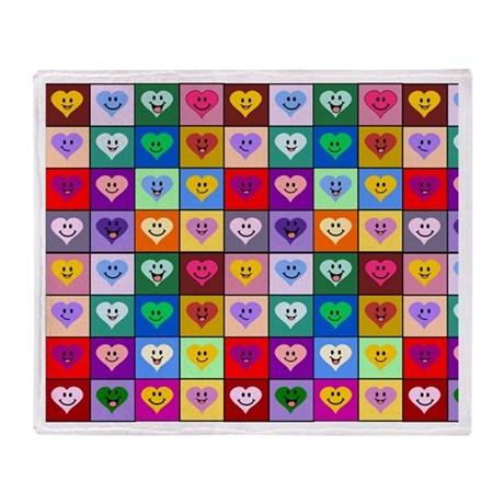Colorful Smiley Hearts Throw Blanket
