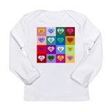 Colorful Smiley Hearts Long Sleeve Infant T-Shirt