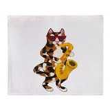 Calico Cat Playing Saxophone Throw Blanket