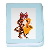 Calico Cat Playing Saxophone baby blanket