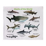 Sharks of the World Throw Blanket