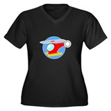 Cartoon Helicopter Women's Plus Size V-Neck Dark T