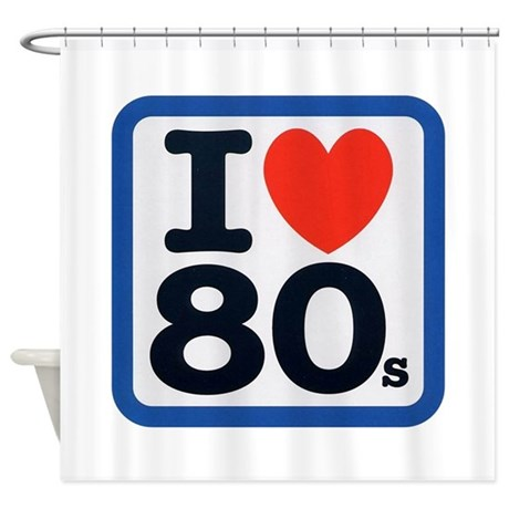 I heart 80s shower curtain by funbabyclothes for 1980s bathroom decor