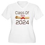 2024 School Class Diploma Women's Plus Size V-Neck