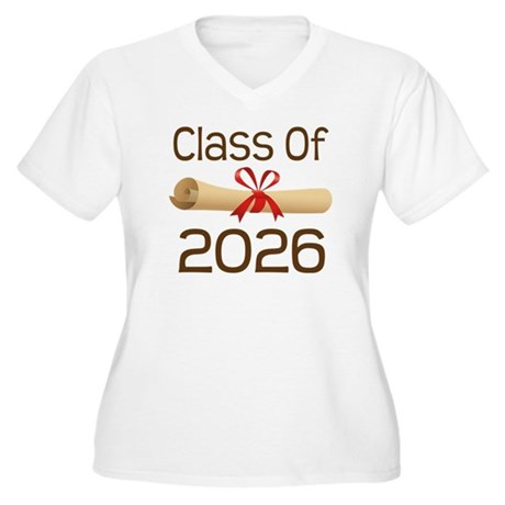 2026 School Class Diploma Women's Plus Size V-Neck