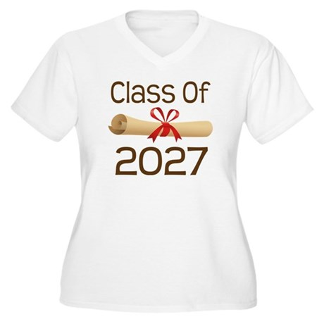 2027 School Class Diploma Women's Plus Size V-Neck