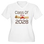 2028 School Class Diploma Women's Plus Size V-Neck