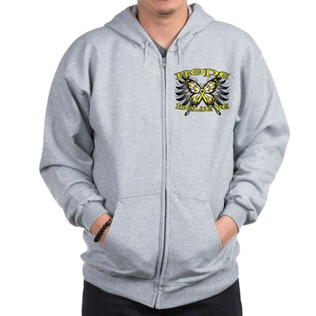 Hope Believe Ewing Sarcoma Zip Hoodie