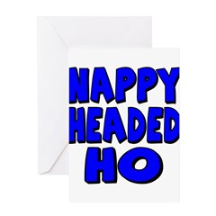 Nappy Headed Ho Blue Design Greeting Card