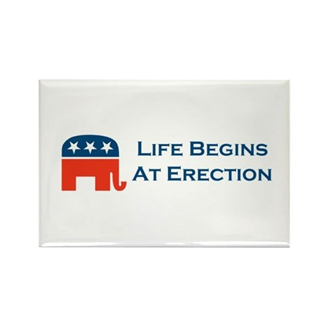 Life Begins At Erection Rectangle Magnet