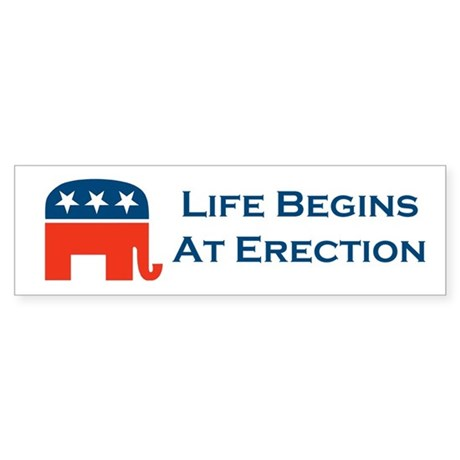 Life Begins At Erection Sticker (Bumper)