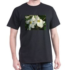 Dogwood Flowers Black T-Shirt