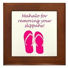 Remove Slippahs (Fuschia) Framed Tile