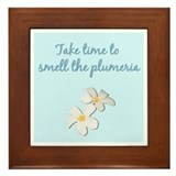 Smell the Plumeria (Powder Blue) Framed Tile