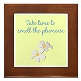 Smell the Plumeria (Light Yellow) Framed Tile
