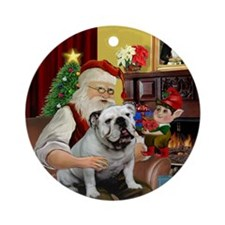 Santa's white English Bulldog Ornament (Round)