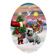 Santa's Treat - English BD (white) Oval Ornament
