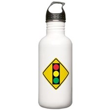 Signal Ahead Caution Sign Water Bottle