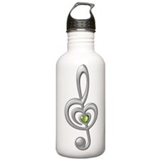 Treble Clef Silver Water Bottle