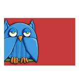 Aqua Owl red Postcards (Package of 8)