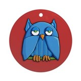 Aqua Owl red Ornament (Round)