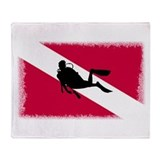 Scuba Diver &amp; Flag Throw Blanket